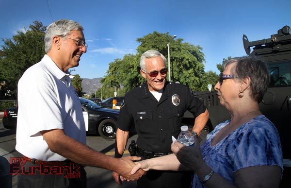Burbank's New City Manager Mark Scott gets to meet citizens during this years National Night out as he was introduced by Chief Scott LaChasse.(Photo by Ross A. Benson)