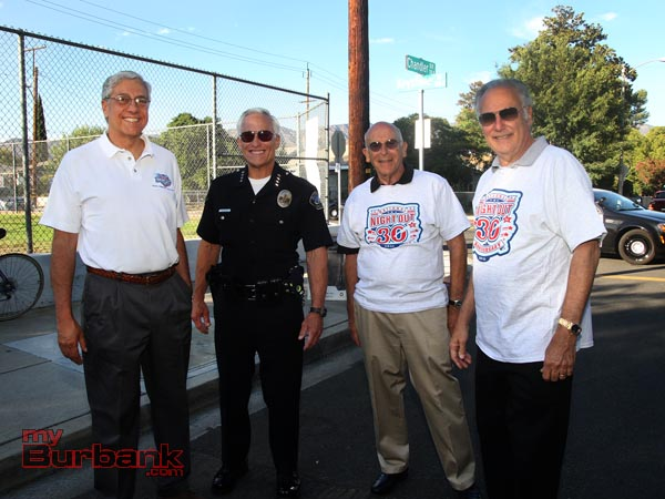 New City Manager Mark Scott with Chief Scott LaChasse and Police Commissioners Cohen and Rosenfield.. (Photo by Ross A. Benson)