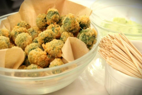 Fried stuffed olives with garlic aioli. (Photo Courtesy of Ashley Erikson)