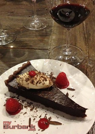 Dark chocolate tart and Black Magic California Zinfandel. (Photo by Lisa Paredes)