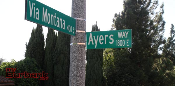 Burbank Street named after the former Mayor Leland Ayers. (Photo by Ross A. Benson)
