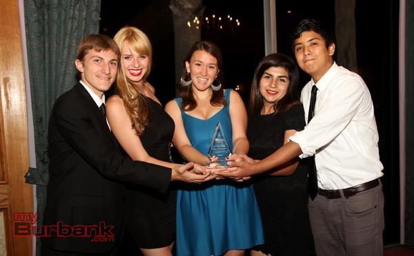 The Production Team of 'Being' Burbank High Students with their 1st place award during the BIFF Awards Ceremonies. (Photo by Ross A. Benson).