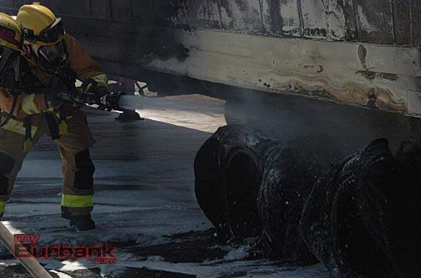 The tire from the trailer were melted from the heat of the fire (Photo By Nick Colbert)