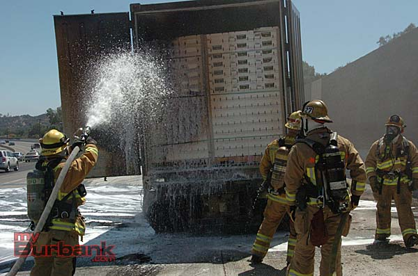 There was severe fire damage to the trailer after the brakes caught fire (Photo By Nick Colbert)