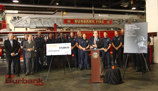 Burbank City Council member Bob Frutos speaks during a Check Passing Press Conference at Burbank Fire Headquarters.(Photo by Ross A. Benson)