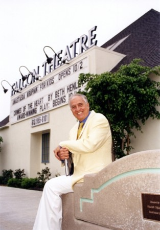 Garry Marshall in front of his Falcon Theatre in Burbank