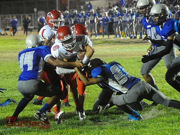 Hunter Guerin plows his way in for a touchdown (Photo by Craig Sherwood)