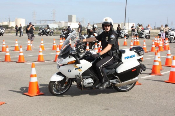 Officer Randy Lloyd goes through the patterns. (Photo Courtesy of Burbank Police Dept.)