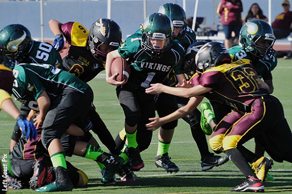 Max Birch (#1) plows ahead with Kenji Butler (#99) and Henry Diaz (#50) blocking for Midget Green (Photo courtesy of Jim Floyd)