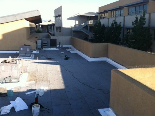 Roof work at Burroughs High School. (Courtesy of Burbank Unified School District)
