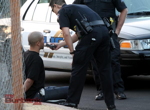 Burbank Police administer breathalyzer test to suspected drunk driver. (Photo By Ross A Benson)