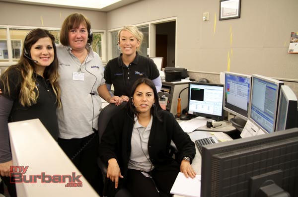 Burbank Police Dispatcher  Aylin Matavousian, Michelle McCord, April Brownand Tawny  Montes, (Seated). (Photo by Ross A. Benson)