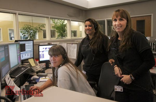 Burbank Police Dispatchers Deni Siedschlag, Brenda Perez-Orozco, and Fay Martin. (Photo by Ross A. Benson)