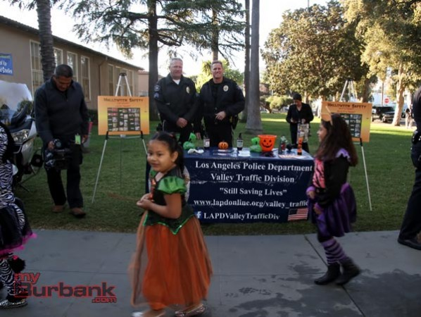 Burbank Motors Sgt. Kerry Schlif and Officer Randy Lloyd at Halloween Safety Press conference. (Photo by Ross A. Benson)