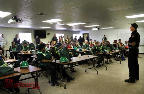 Burbank Fire Chief Tom Lenahan address the CERT Members during the morning welcoming address. (Photo by Ross A. Benson)