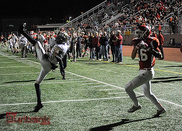 Conor Joyce hauls in the lone Burroughs touchdown (Photo by Craig Sherwood)