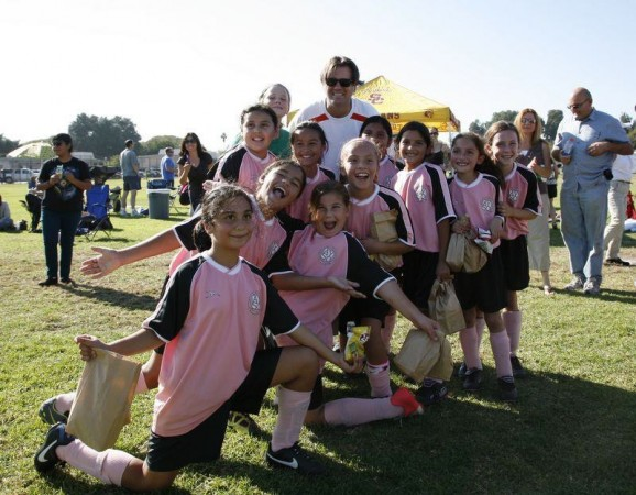 """Jon Huntley with his AYSO GU10 team, """"Face My Fury."""" (Photo Courtesy of The Huntley Family.)"""
