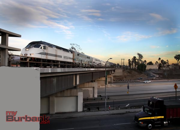 The Los Angeles Times Burbank Leader reported that this bridge over the 170 Freeway was located in Burbank after the train left Bob Hope Burbank Airport