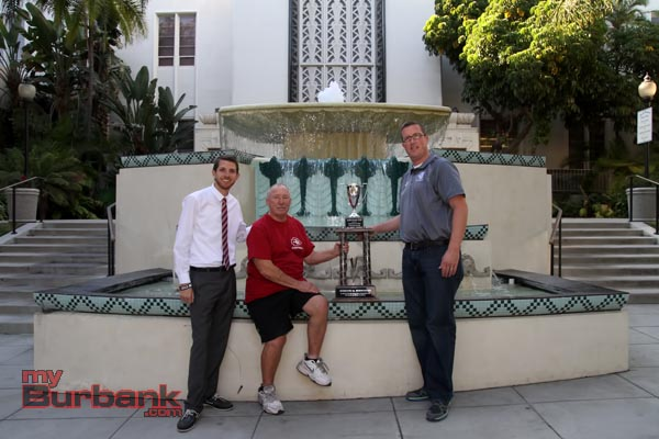 "The ""myBurbank CUP"" is in good hands with Burroughs Vice Principal of Athletics Matt Chambers (far left), Athletic Director Marty Garrison and Burbank Vice Principal of Athletics James Mackey (far right)(Photo by Ross A. Benson)"