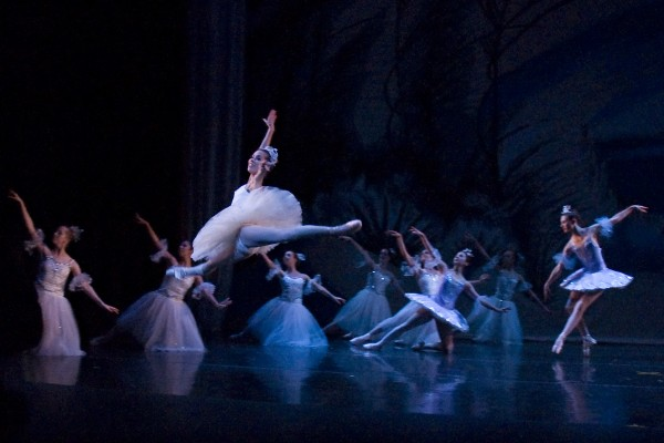 """Felicia Guzman flies through the air during a past production of """"The Nutcracker"""" presented by the Pacific Ballet Dance Theatre. (Photo courtesy Pacific Ballet Dance Theatre)"""