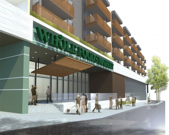 Whole Foods Market, Olive Ave. entrance view. (Image Courtesy of Van Tilburg, Banvard & Soderbergh, AIA)
