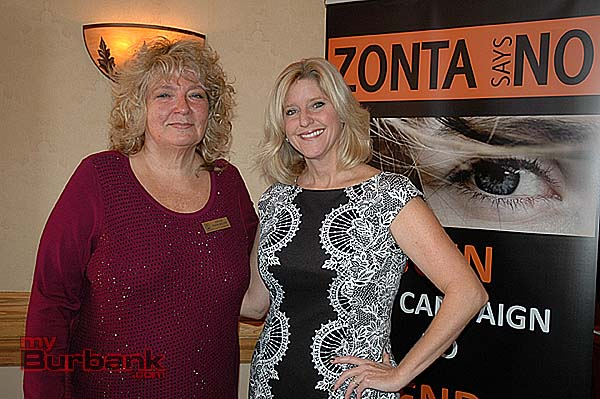 Grace Farenbaugh, left, president of Zonta Club of Burbank, with honoree Rebecca Mieliwocki, the Woman of the Year for 2013. (Photo by Joyce Rudolph)