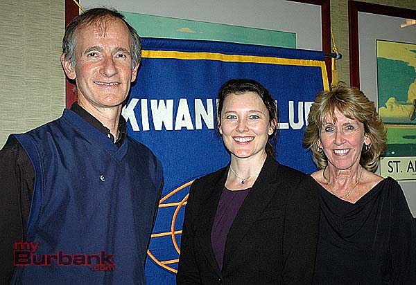 Burbank Sunrise Kiwanis Club President Joe Marando with Louise Skosey, development officer with the Providence St. Joseph Foundation, center, and Donna Anderson, vice president of the Sunrise Kiwanis Club. The club donated $25,000 to the Providence Foundation in honor of the club's 25th anniversary. (Photo by Joyce Rudolph)