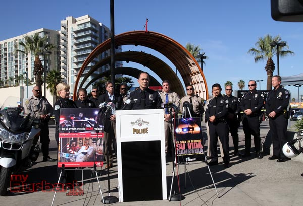 Burbank Police Capt. Ron Caruso addresses the media at joint DUI Press Conference at Orange Line Station in North Hollywood along with LAPD, LASO, MTA. & MADD (Photo by Ross A. Benson)