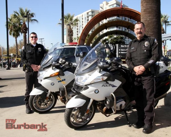 Burbank Motor Officers Sean Toth and Officer Todd Burns were present at the press conference to warn about drunk driving.. (Photo by Ross A. Benson)