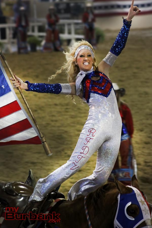 A member of the All American Cowgirl Chick riding team will be doing tricks along this years parade route. (Photo by Ross A. Benson)