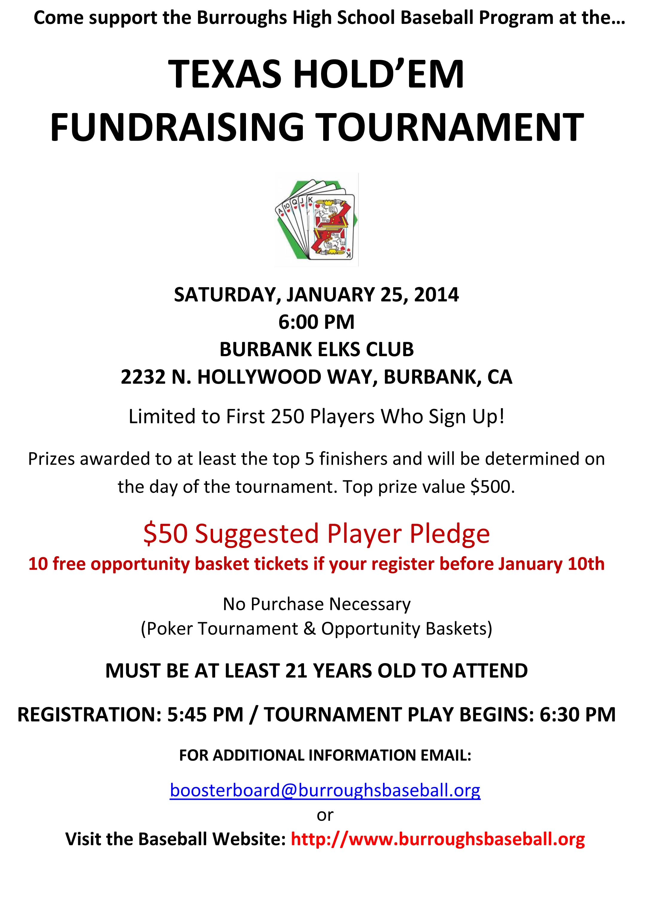 Burroughs Baseball Poker Fundraiser