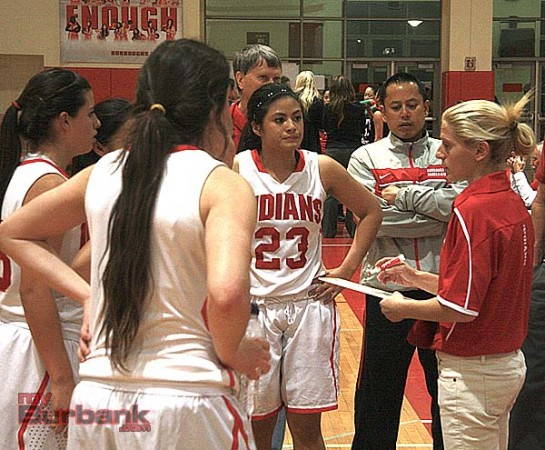 Coach Vicky Oganyan instructs her team (Photo by Dick Dornan)
