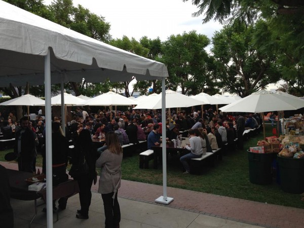 Nickelodeon employees line up for a meal catered by Dulan's restaurant. (Photo Courtesy of Nickelodeon)