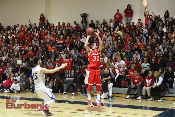 Burroughs' Chris Hovasapian rises up on a three-pointer (Photo by Ross A. Benson)