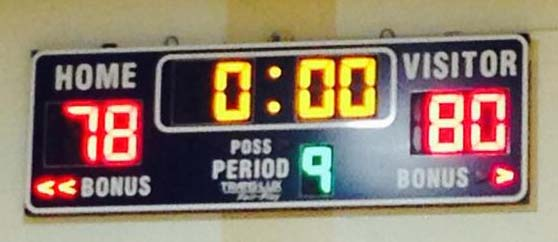 The scoreboard at Burbank tells the story after the Bulldogs lost in 5 overtimes (Photo Courtesy Trent Welker)