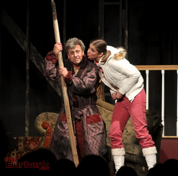 Joe Benjamin ( Jim Roope) gets a kiss from his stage daughter Sara Benjamin ( Katie Elsaesser). ( Photo  by Ross A. Benson)