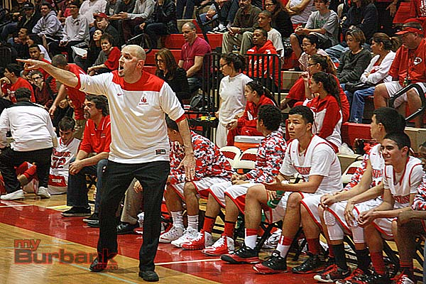 Coach Adam Hochberg shouts out instructions (Photo by Dick Dornan)