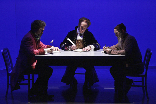"David Melville, Larry Cedar and Armin Shimerman star in the World Premiere of THE GOSPEL ACCORDING TO THOMAS JEFFERSON, CHARLES DICKENS AND COUNT LEO TOLSTOY: DISCORD,"" written by Scott Carter and Directed by Matt August and now playing at the NoHo Arts Center in North Hollywood  (Photo Courtesy of Michael Lamont)"