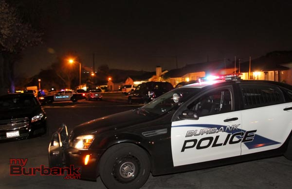Burbank Police closed off the street to preserve the location where the victim was reported picked up from, awaiting Forensic Specialist to record evidence. (Photo by Ross A. Benson)
