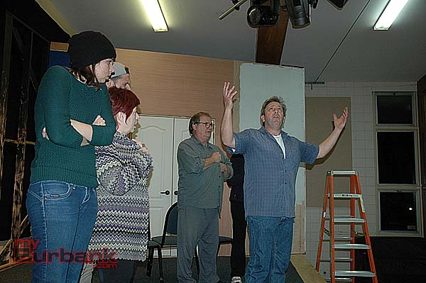 "Jim Roope, right, with the ensemble of the Saint Francis Stage Company rehearsing for the Neil Simon comedy ""God's Favorite."" ( Photo by Joyce Rudolph)"