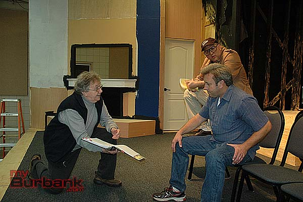 "Rehearsing ""God's Favorite"" are, from left, director George Strattan, Jim Roope and Daniel Roebuck. (Photo by Joyce Rudolph)"