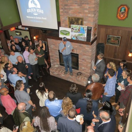 Tony Yanow, co-founder of Golden Road Brewing and owner of Tony's Darts Away, speaks at the 2020 IPA release party. (Photo Courtesy of Golden Road Brewery)