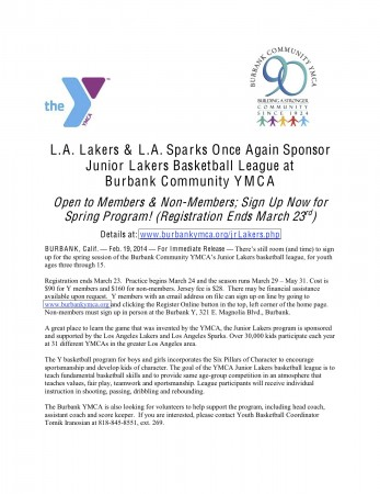 Burbank YMCA - Jr. Lakers Registration