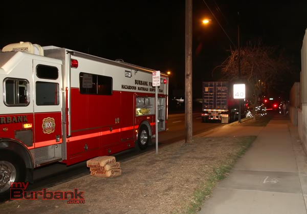 Burbank responded a full Hazmat response to assist with diking and cleanup of some of the fuel that pooled when the truck finally stopped. ( Photo by Ross A. Benson)