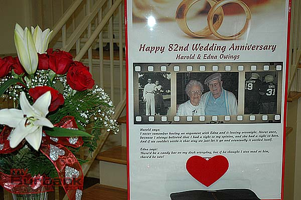 Decorations around St. Eleanor Hall included a poster of quotes from Edna and Harold Owings. (Photo By Joyce Rudolph)