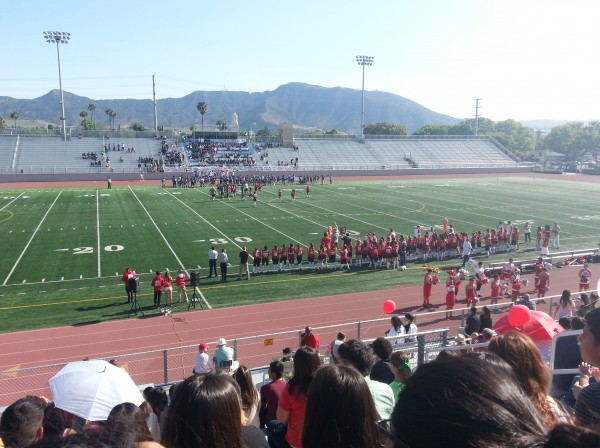"The annual ""Powder Puff"" football game was won by Burroughs, 19-0 (Photo courtesy of Dinora Rojas)"