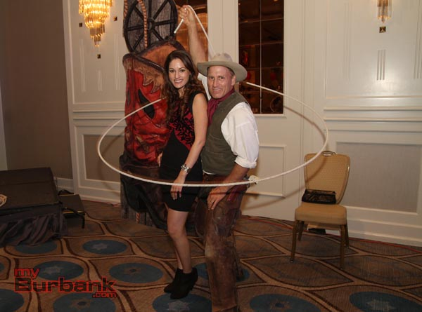 A little cowboy roping fun for Angela Horvath during this years Chamber Gala Saturday evening. ( Photo by Ross A. Benson)