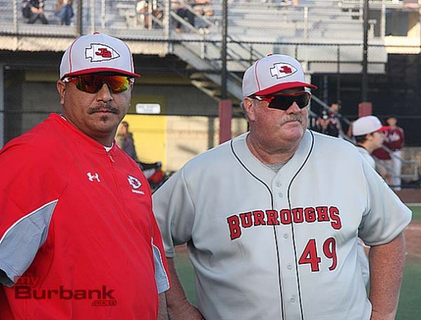 Coach Craig Sherwood (rt) and pitching coach Tony Sandoval