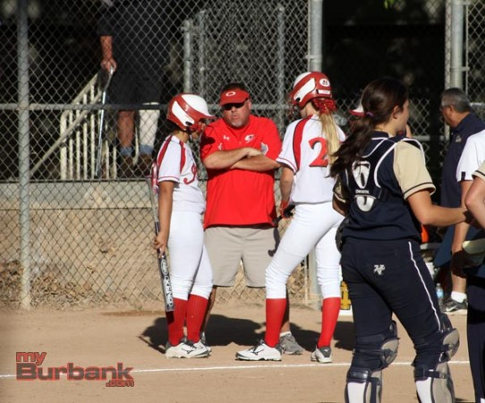 Burroughs coach Doug Nicol talks strategy to his players (Photo by Ross A. Benson)