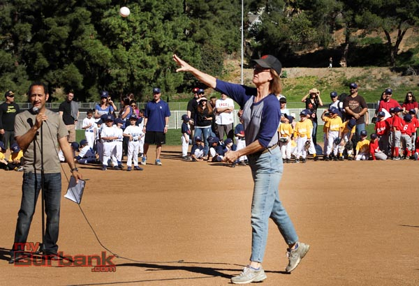 Burbank Mayor Emily Gabel-Luddy throws out the first ceremonial pitch to start the season (Photo by Ross A. Benson)
